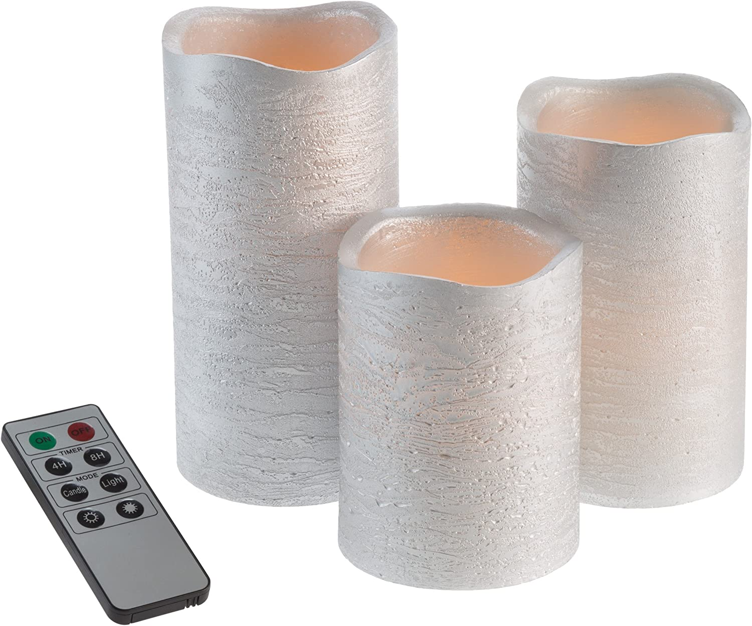 Lavish Home 80-FC1003 Flameless LED Powered Pillar Candles with Remote (Set of 3), Silver Metallic