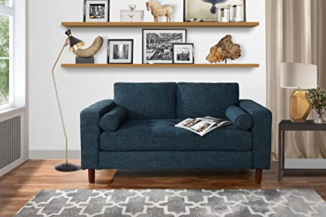 Modern Sofa Loveseat with Tufted Linen Fabric - Living Room Couch (Dark  Blue)