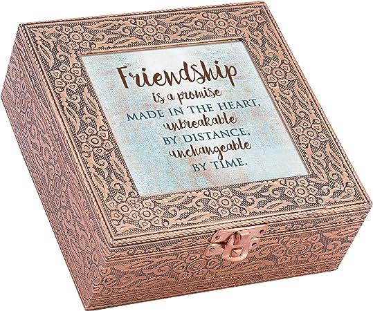 Amistad una promesa irrompible con sello de cobre joyería caja de música Reproduce canción que es lo Friends Are para: Amazon.es: Hogar