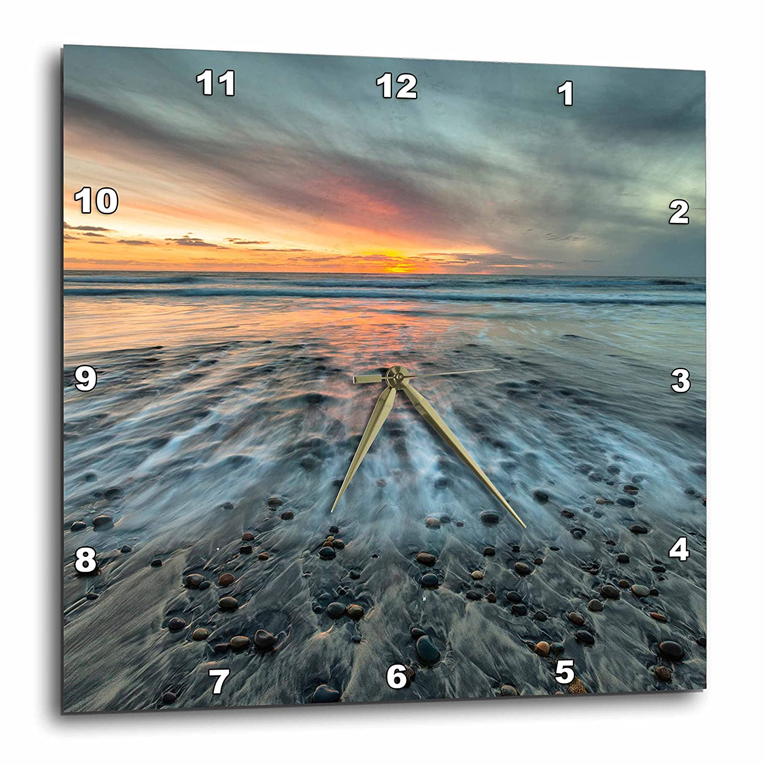 3dRose Sunset at Ponto Beach in Carlsbad Ca Wall Clock 15 by 15