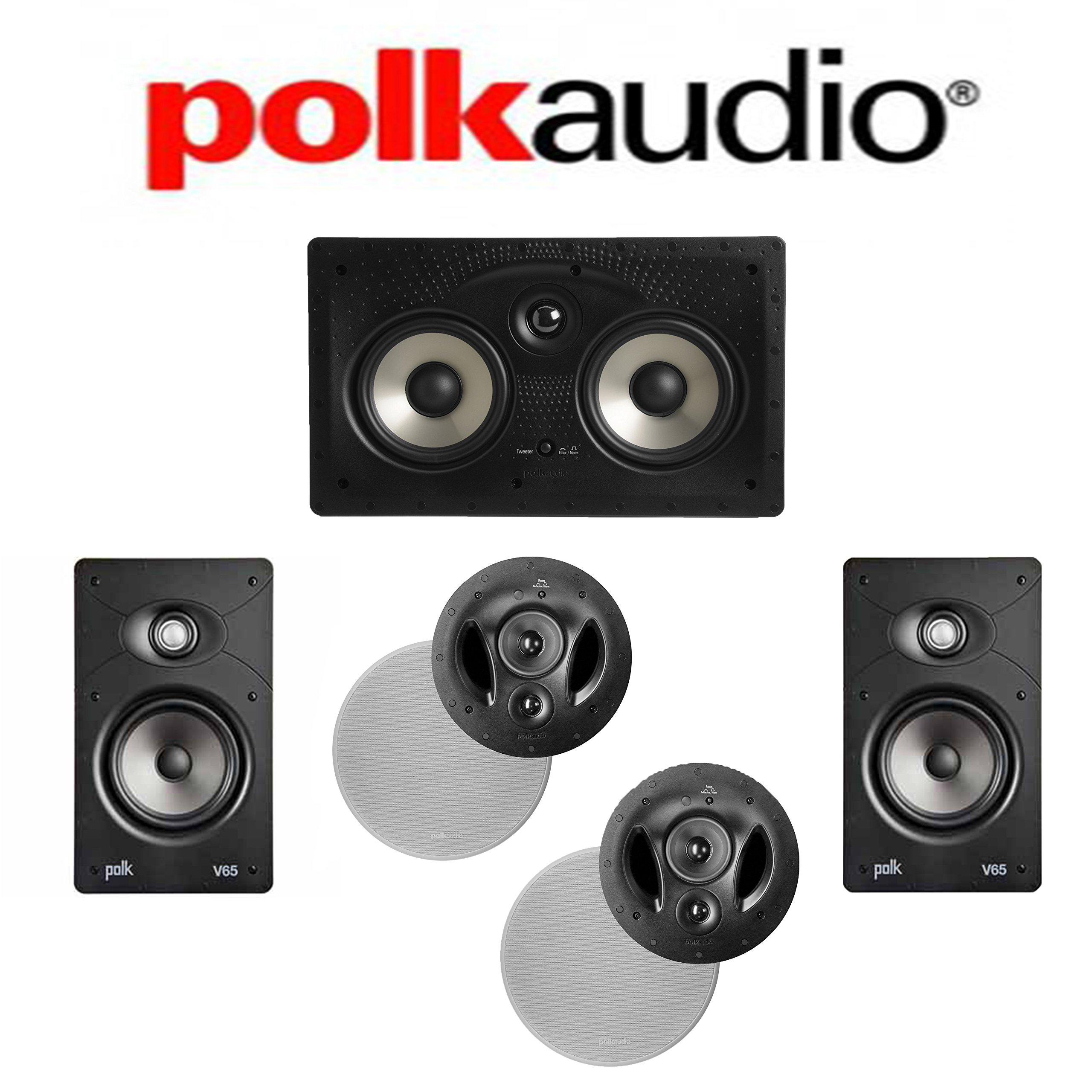 Polk Audio 90-RT + Polk Audio V65 + Polk Audio 255C-RT 5.0 Vanishing Series In-Wall / In-Ceiling Home Theater System by Polk Audio