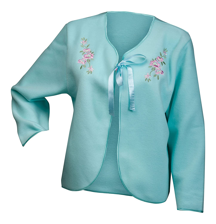 Slenderella Ladies Soft Polar Fleece Ribbon Tie Bed Jacket Embroidered Detail