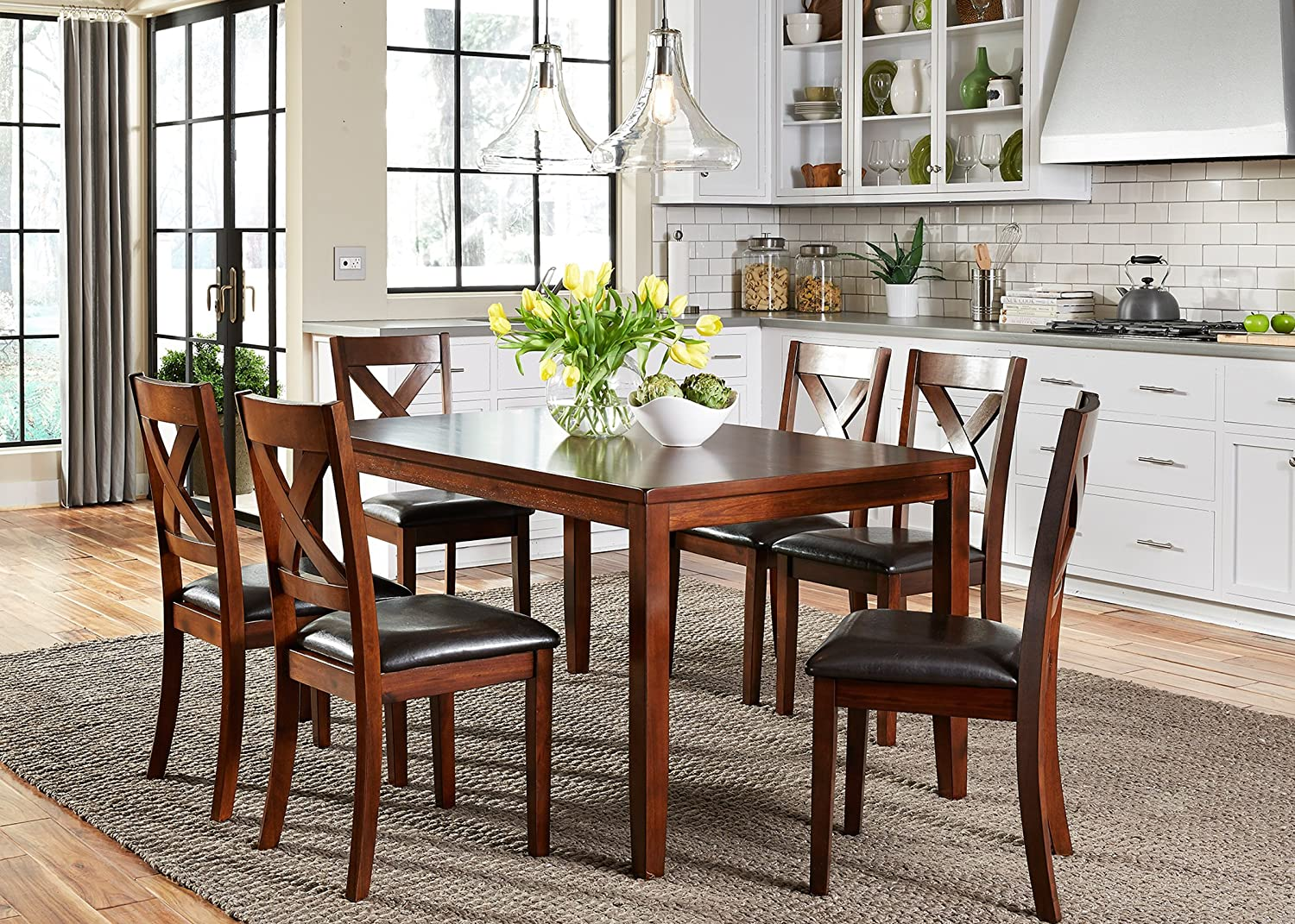 Liberty Furniture Industries Thornton 7 Piece Rectangular Table Set, W36 x D60 x H30, Medium Brown