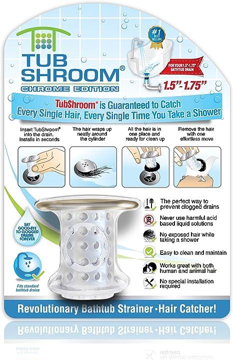 Snare Strainer Black Chrome TubShroom Edition Revolutionary Tub Drain Protector Hair Catcher