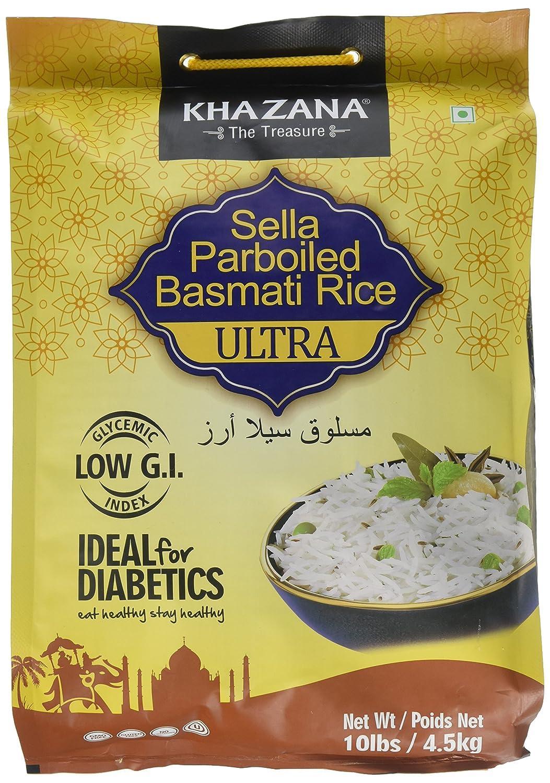 Khazana Ideal for Diabetics Low GI Index Value Sella Parboiled Basmati Rice  Ultra - 10 lbs