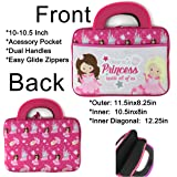 """Pink Princess 10 inch Universal Portable Tablet Bag Tote Kids Neoprene Carrying Case Boy Girl Zipper Sleeve Front Pocket dual handles fits to 10.5"""""""
