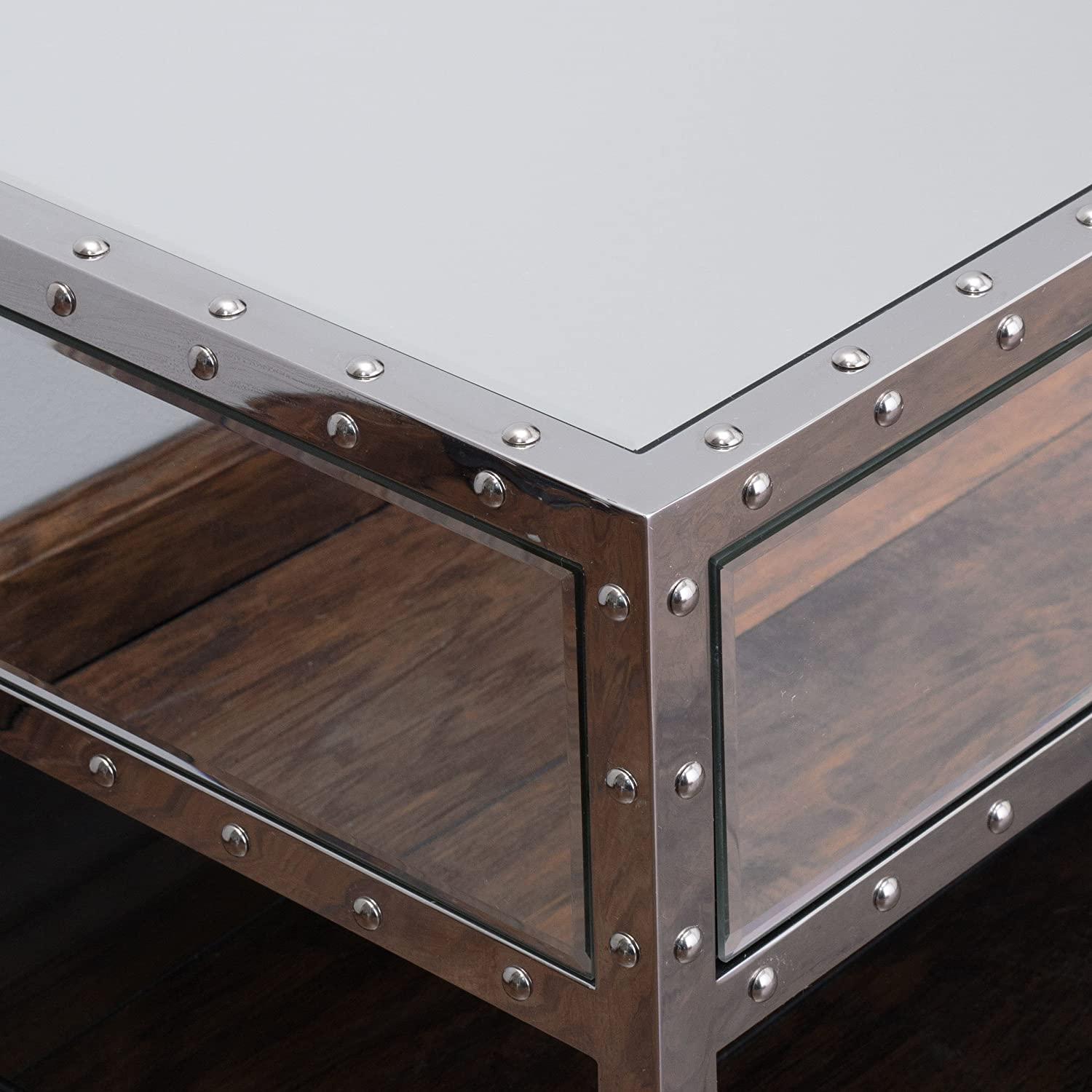 Amazon.com: Ryanne Studded Mirrored 2 Drawer Coffee Table: Kitchen U0026 Dining
