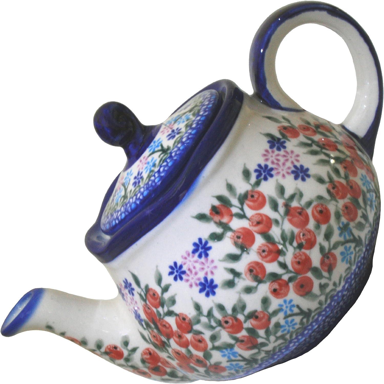 0105//238 Polish Pottery Ceramika Boleslawiec 3 1//4 Cups Royal Blue Patterns with Red Cornflower and Blue Butterflies Motif Teapot Fruti