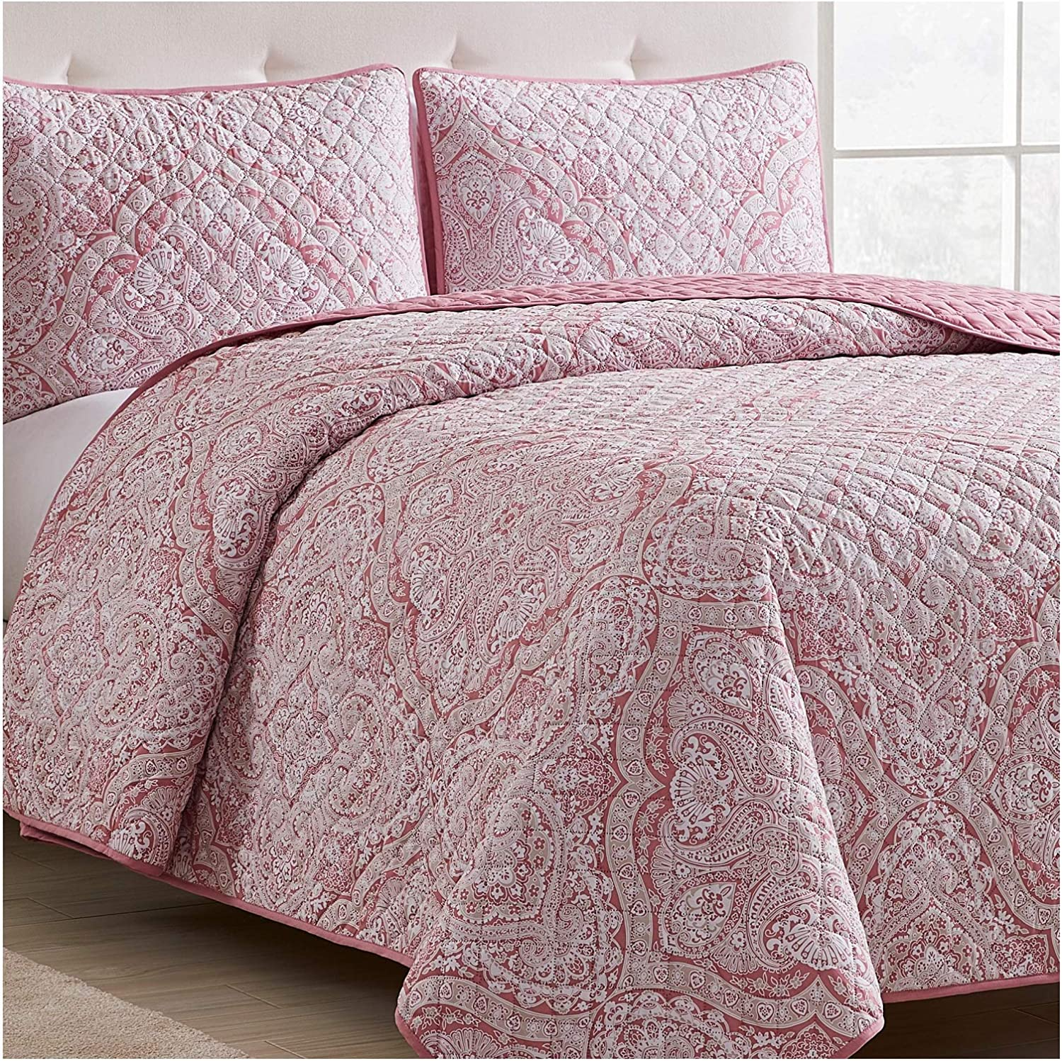 Mellanni Bedspread Coverlet Set - Comforter Bedding Cover - Oversized 2-Piece Quilt Set (Twin/TwinXL, Medallion Coral)