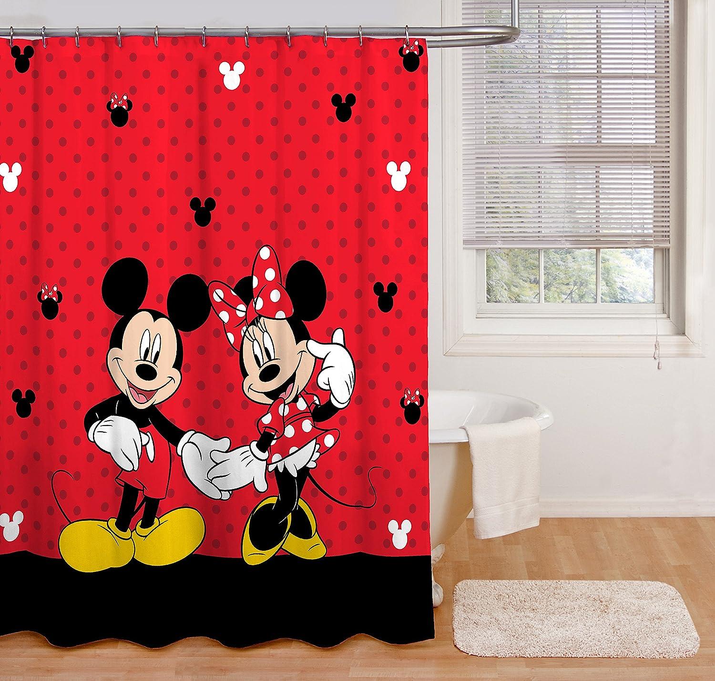 disney duschvorhang mit mickey maus und minnie maus 177 8 x 182 9 cm aus stoff red shower curtain includes 1 fabric shower curtain