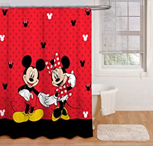 "Disney Mickey Mouse and Minnie Mouse 70"" x 72"" Fabric Shower Curtain"