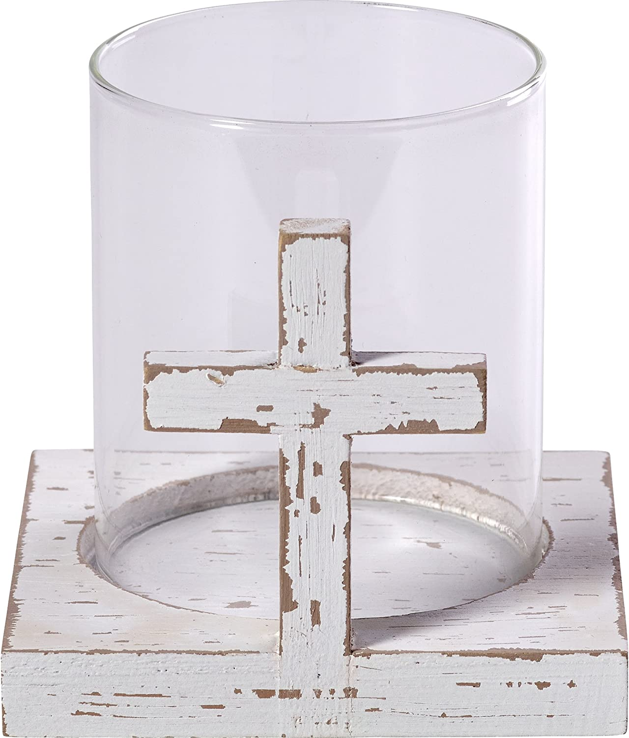 Precious Moments Rustic Farmhouse Distressed Cross Wood & Glass Votive Candle Holder Home Decor 173429