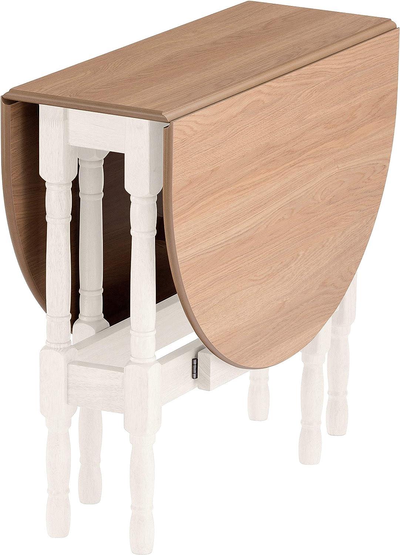 Mood Heatproof Oval Gateleg Drop Leaf Kitchen Dining Table Natural Oak Cream Finish Small Space Dining Folding Quality 32x79cm Closed 128x79cm Open Tufftop Heat Resistant
