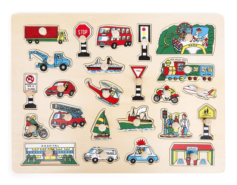 Small Foot - Poser Moyens de Transport en Bois, certifiés FSC 100%, 24 pièces de Puzzle colorées pour illustrer l'éducation à la sécurité routière, développe la motricité Fine et la Patience, pour Les Enfants à partir de 1 an. Jouets, 11226, Multicolore Sm