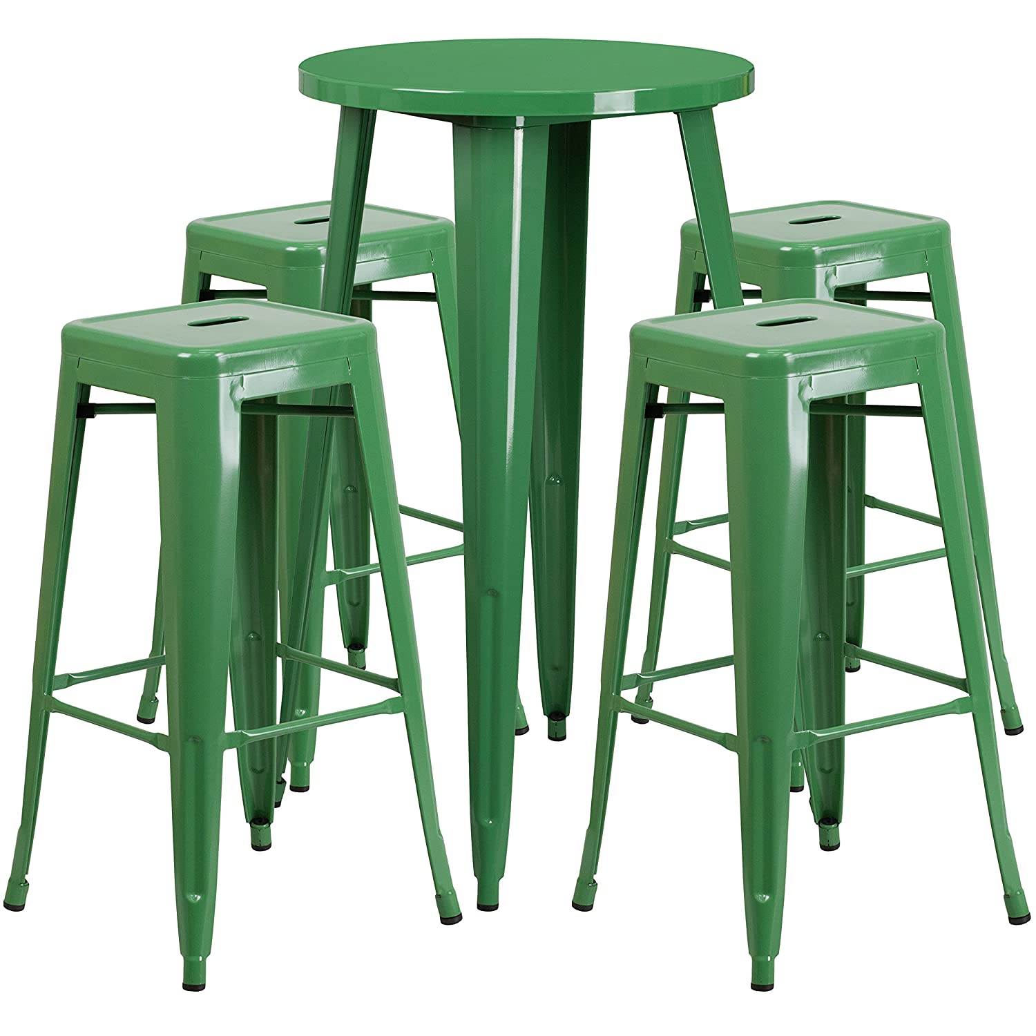 Amazon com flash furniture 24 round green metal indoor outdoor bar table set with 4 square seat backless stools kitchen dining