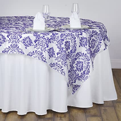 BalsaCircle 90x90 Inch Purple On White Damask Flocking Table Overlays    Wedding Reception Party Catering