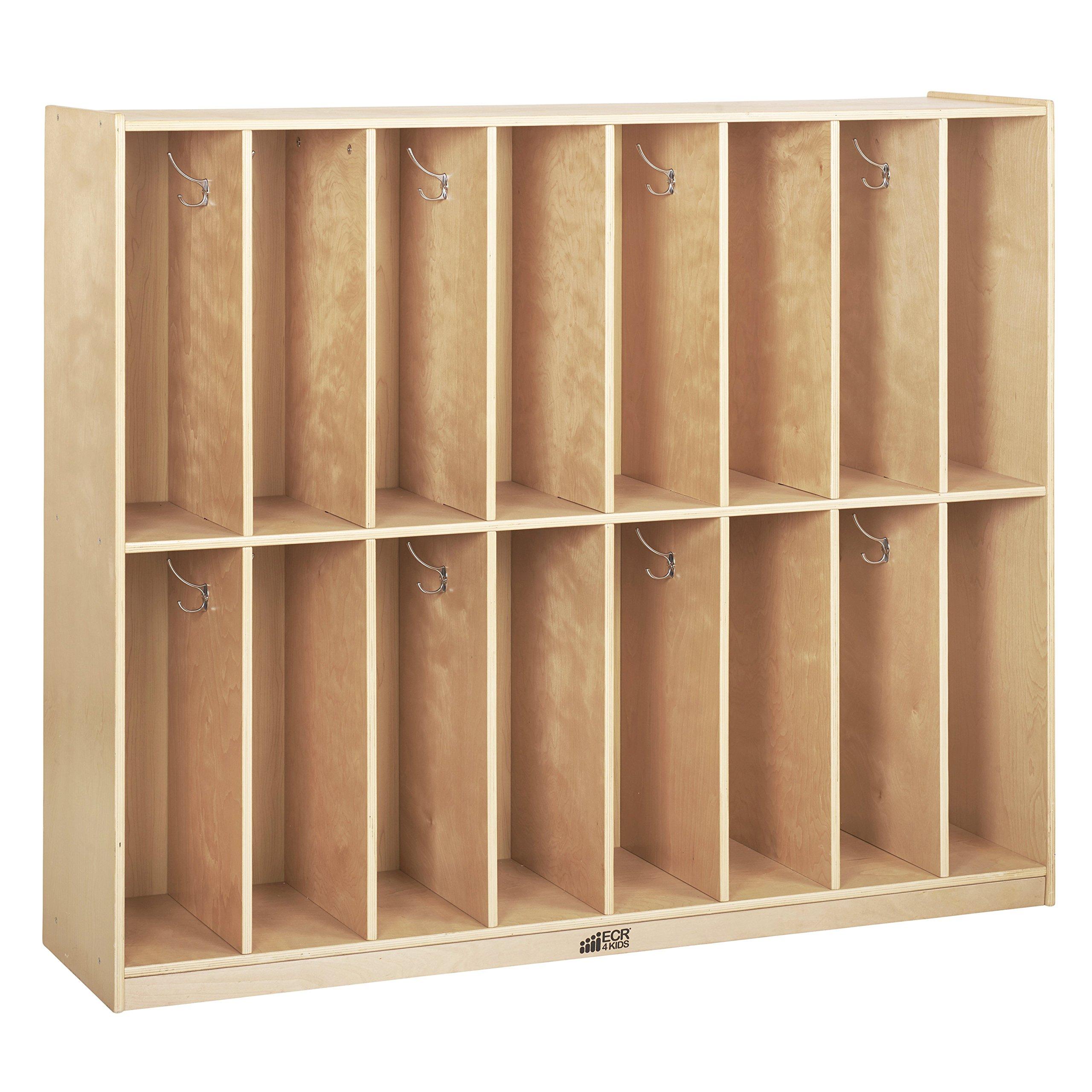 ECR4Kids Birch 16-Section Slim-Fit School Coat Locker with Hooks and Storage for Kids