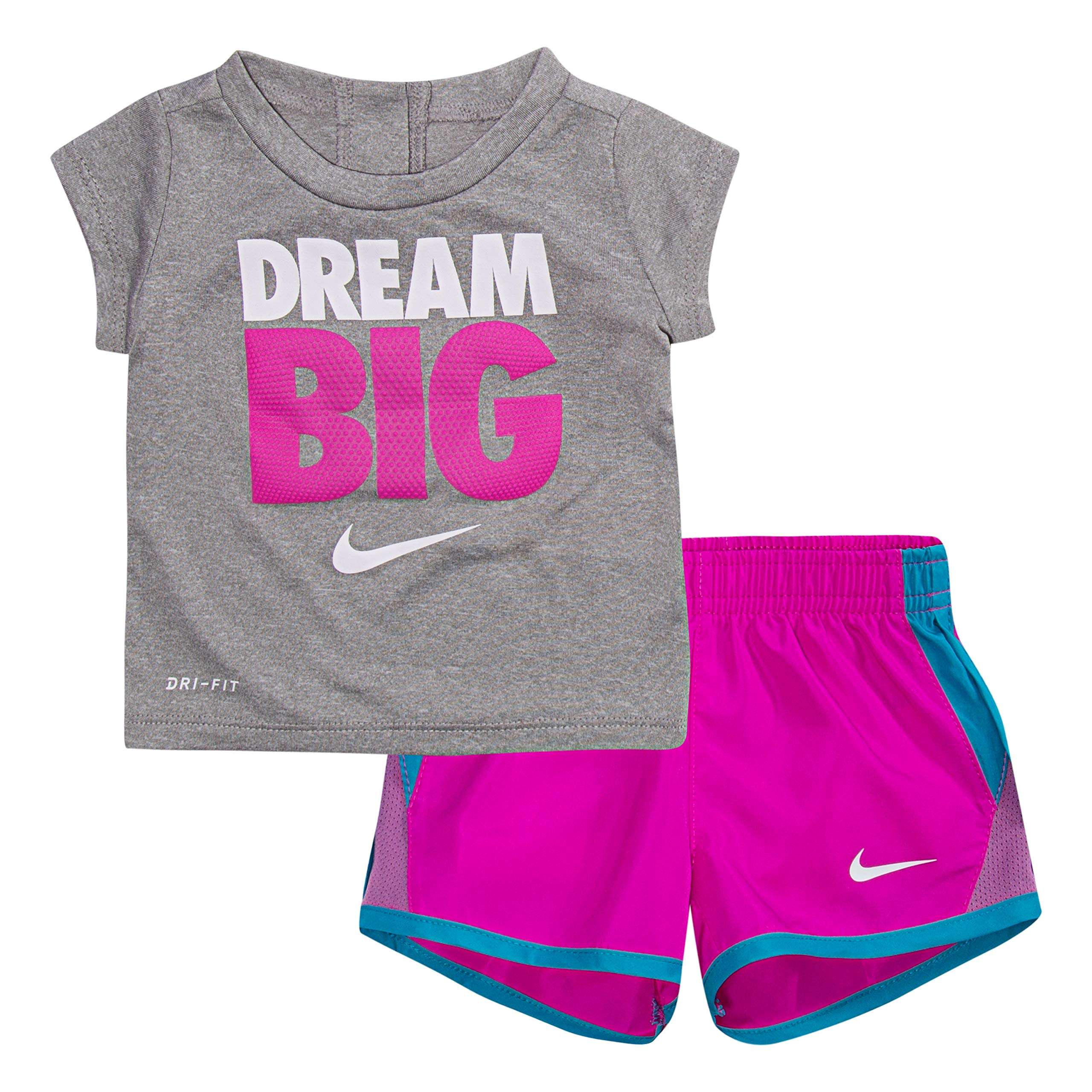 NIKE Children's Apparel Girls' Toddler Graphic T-Shirt and Shorts 2-Piece Outfit Set, Hyper Magenta/Dark Grey Heather, 3T