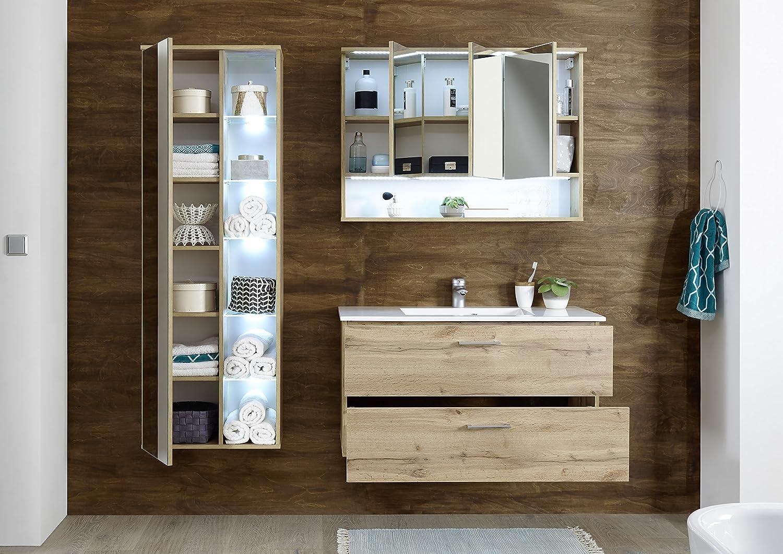 moebel-guenstig7.de Badmöbel Best 7-TLG Badezimmer Set Badmöbel  Badezimmermöbel Wildeiche Beleuchtung