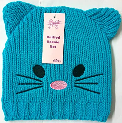 148c1a77f3c GIRLS CAT FACE EARS KNITTED BEANIE SKY WARM WINTER HAT CHEAPEST ON EBAY