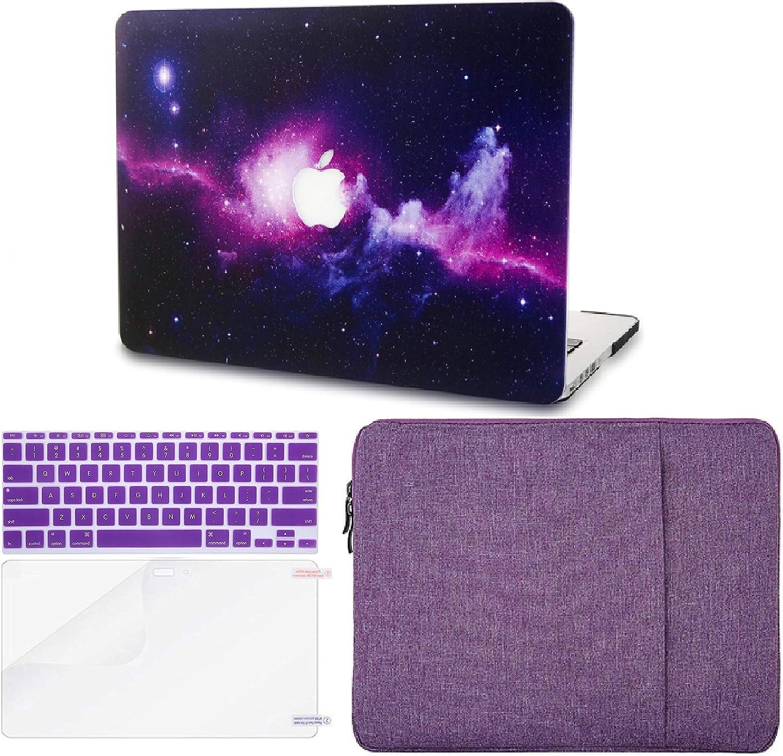 Screen Protector A1502 // A1425 Sleeve Purple w//UK Keyboard Cover Plastic Hard Shell 2015 KECC MacBook Pro Retina 13 Inch Case