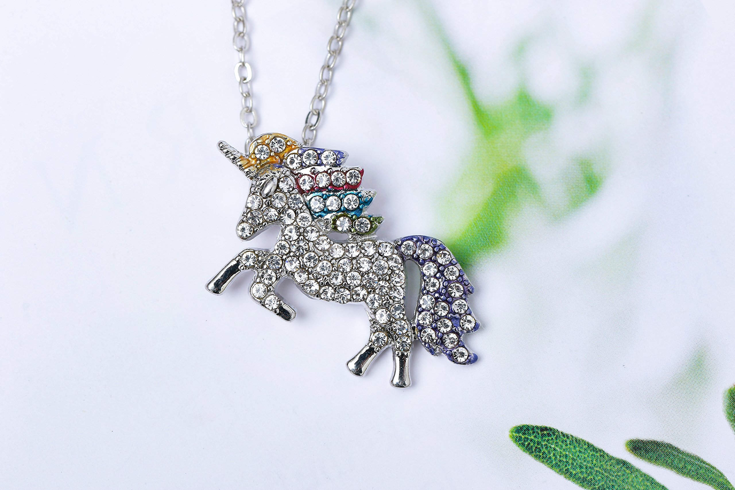MUHU Fashion Rainbow Rhinestones Unicorn Pendant Necklace 7