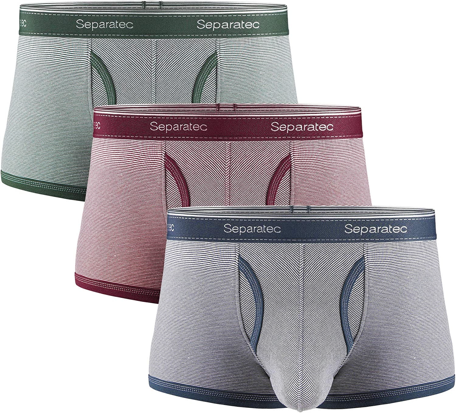 Separatec Men's Underwear Colorful Comfortable Soft Cotton Stretch Trunks 3 Pack