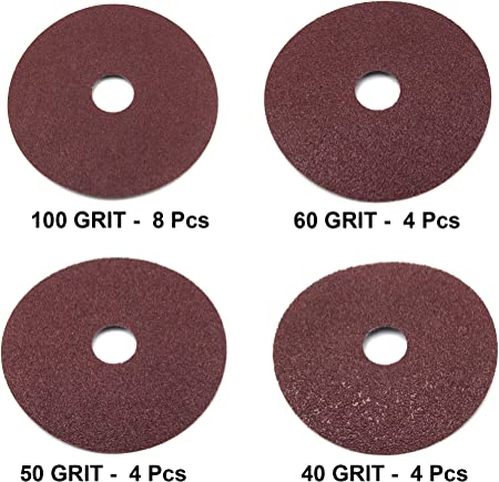 "50 Pk 24 Grit Aluminum Oxide Resin Fiber Sanding Discs 9/"" x 7//8/"" Grinding Pads"