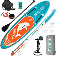 FunWater SUP Inflatable Stand Up Paddle Board Ultra-Light Inflatable Paddleboard with ISUP Accessories,Fins,Adjustable…