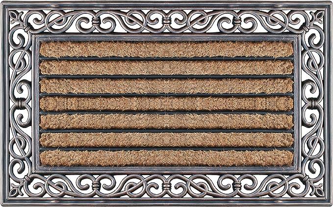A1 Home Collections Llc Rubber Heavy Doormat 18 X 30 Striped Coir Bronze Garden Outdoor