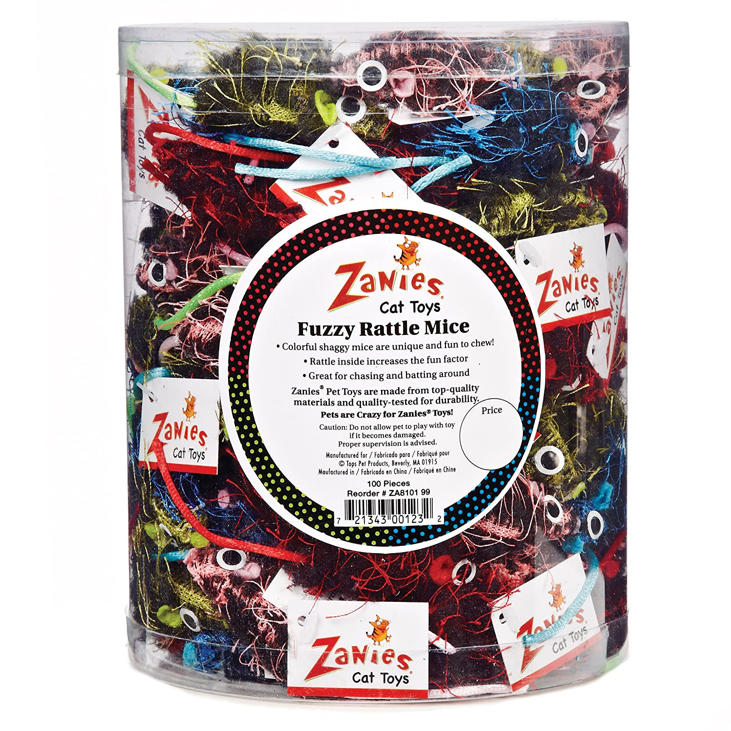 Zanies Fuzzy Rattle Mice Canister hot sale 2017