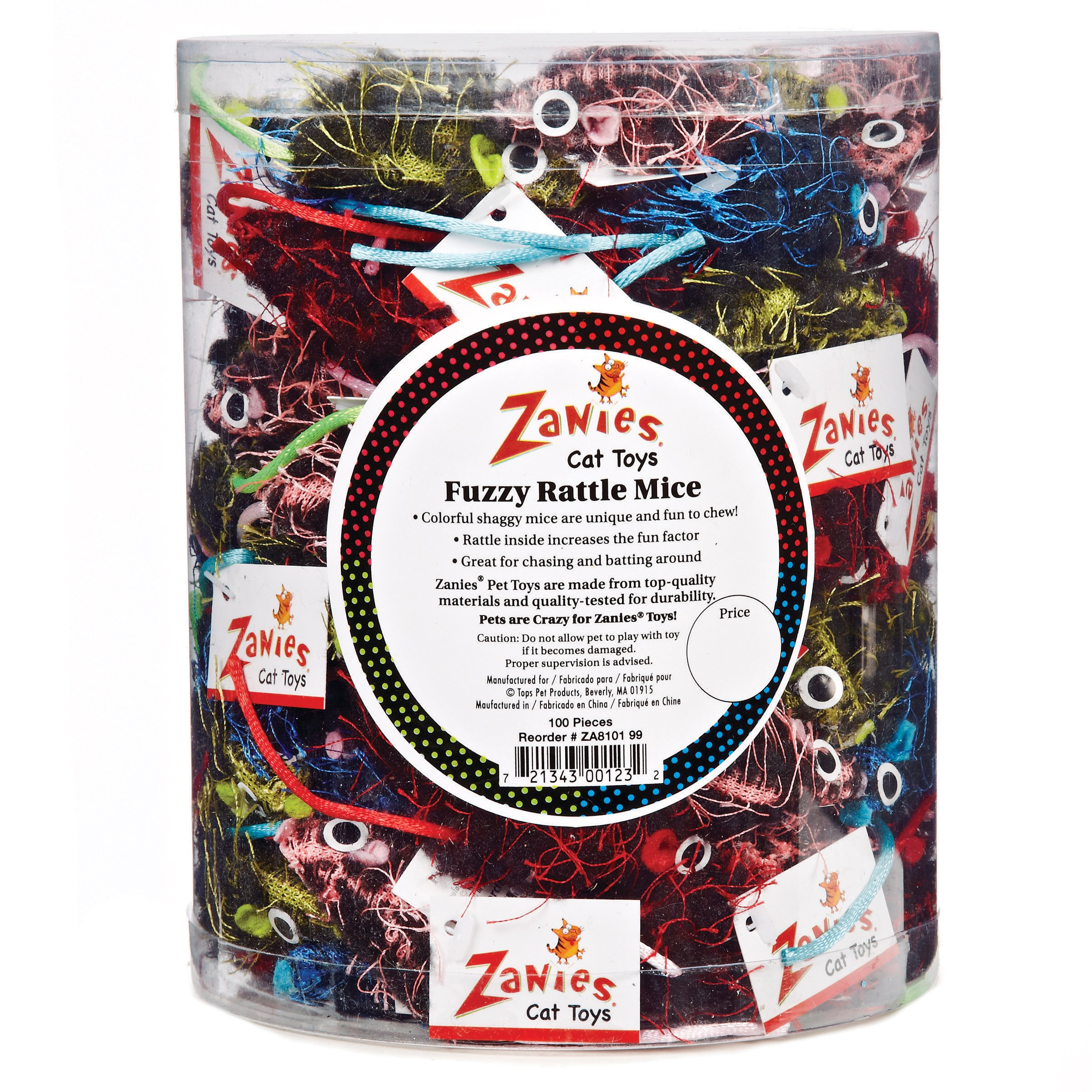 Zanies Fuzzy Rattle Mice Canister