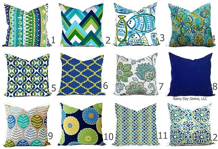 Amazon Com Outdoor Pillow Cover Cobalt Royal Blue Green Handmade