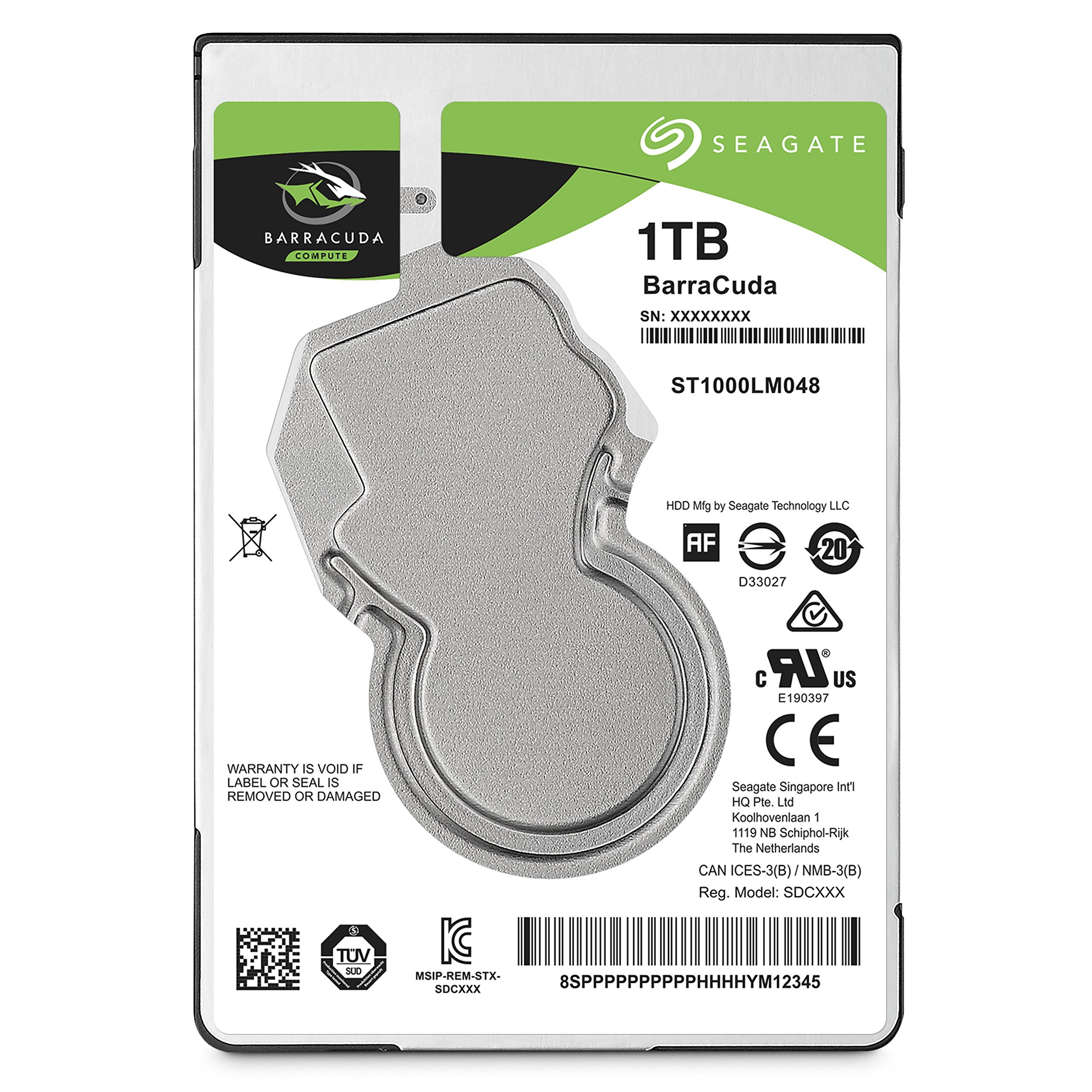 Seagate 1TB BarraCuda SATA 6Gb/s 128MB Cache 2.5-Inch 7mm Internal Hard Drive (ST1000LMB48)