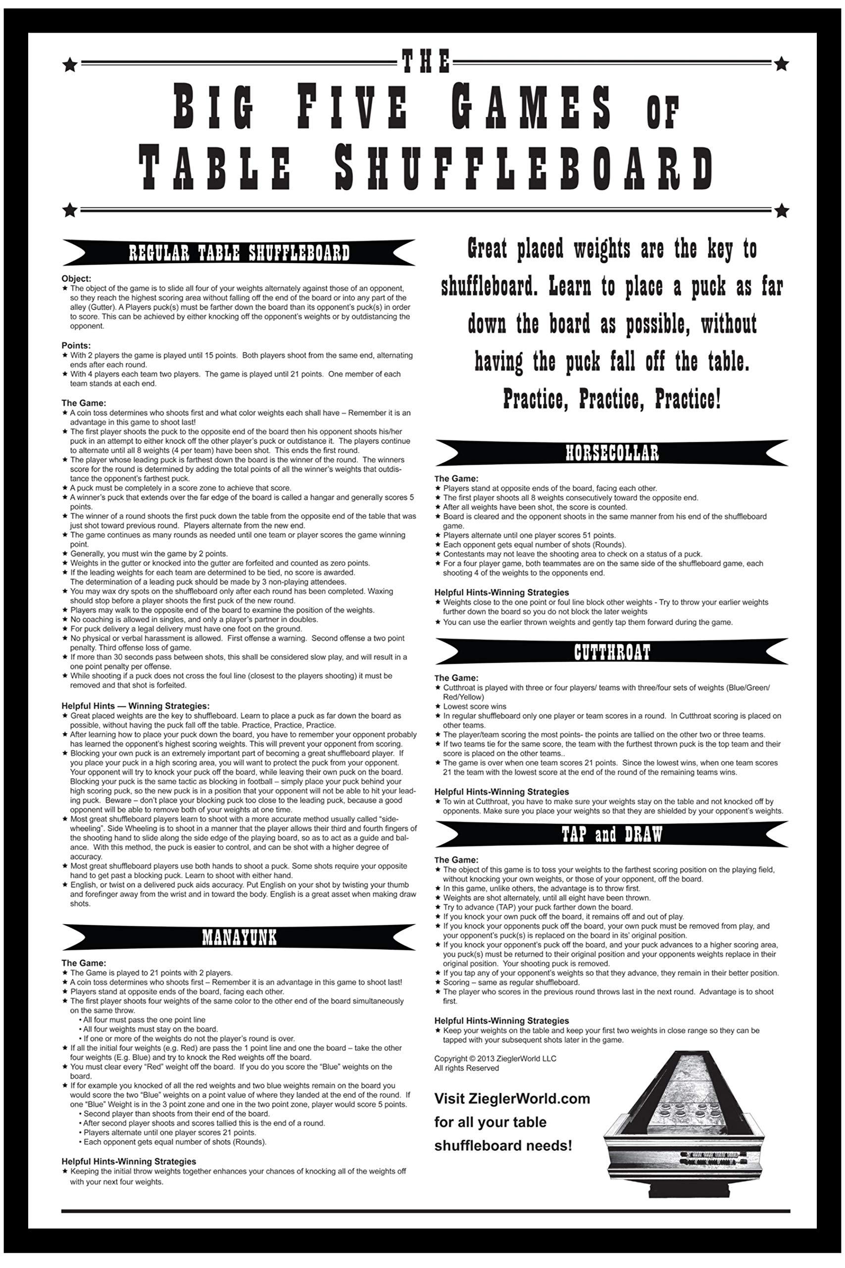 ZieglerWorld Framed 18 x 12 Big Five Games of Table Shuffleboard Rules Print by ZieglerWorld