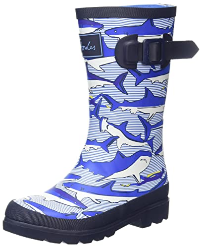 31b320bbe189 Joules Junior Boys Printed Wellington Boots UK 8  US 9 Shark Dive Stripe