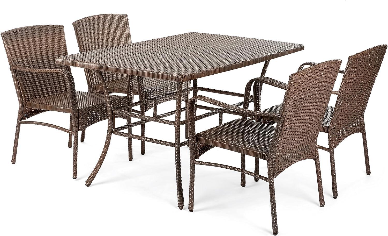 Flex HQ Leisure Collection Outdoor Garden Patio Furniture 5PC Dining Set