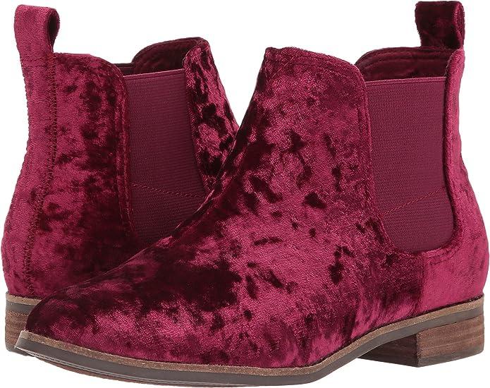 TOMS Women's Ella Chelsea Booties for Women | Fall Velvet Boots for Women