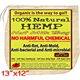 P&F All Natural Nut Milk Bag - No Harmful Chemical, Anti-Rot, Anti-Mold and Anti-Static from Pure Hemp Fabric - Super Healthy, Super Tasty - Reusable Filter Bags - 13 X 12-Inches