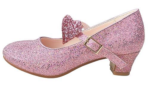 a84cf33bb La Señorita Zapato Elsa Frozen Flamenco Sevillanas de la princesa niña rosa  purpurina (Talla 25