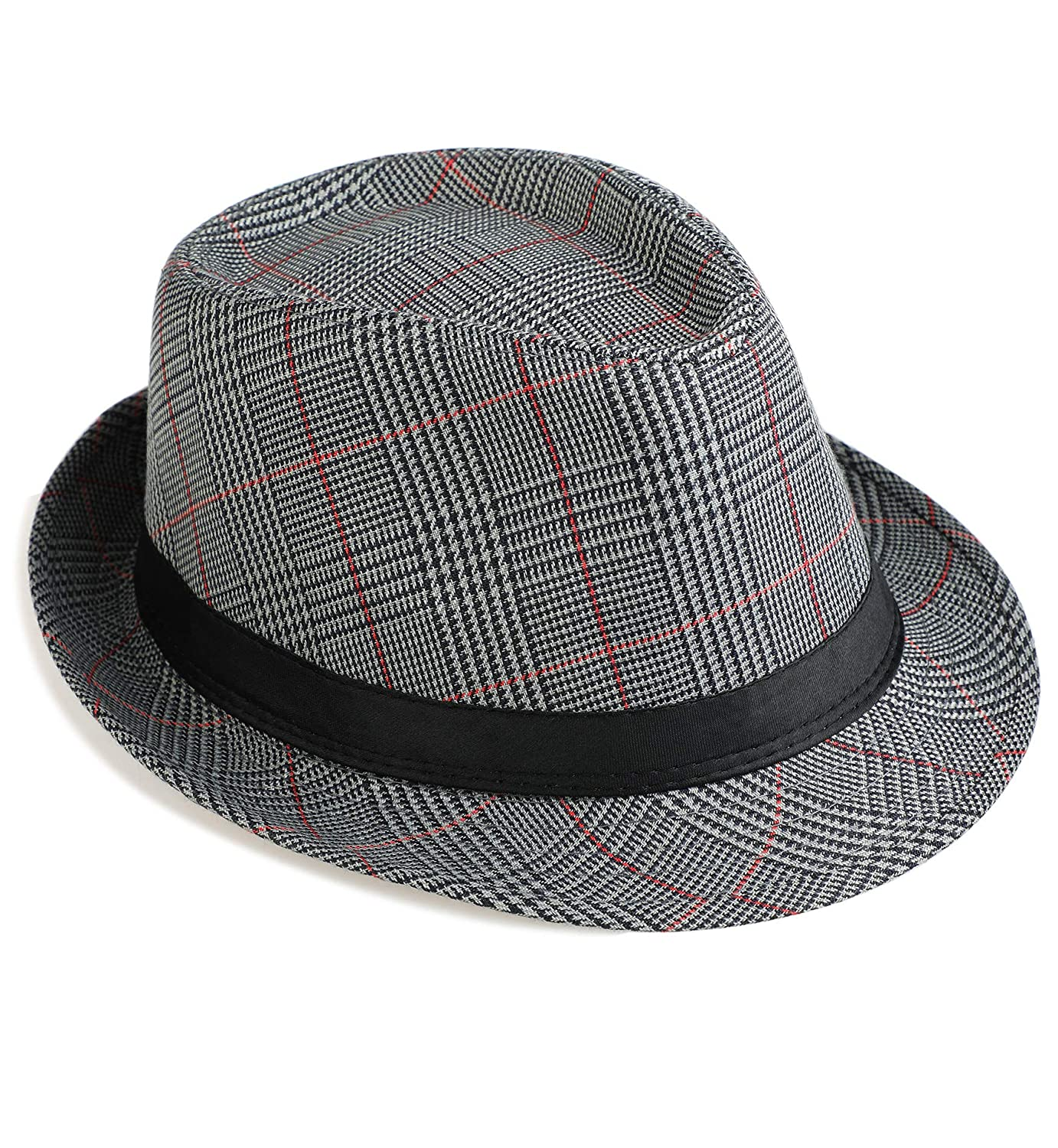 64d3c41f5d3d3 Amazon.com  Sumolux Mens Fedora Hat Hat Band British Style Light Weight  Panama Cap Winter Autumn  Sports   Outdoors