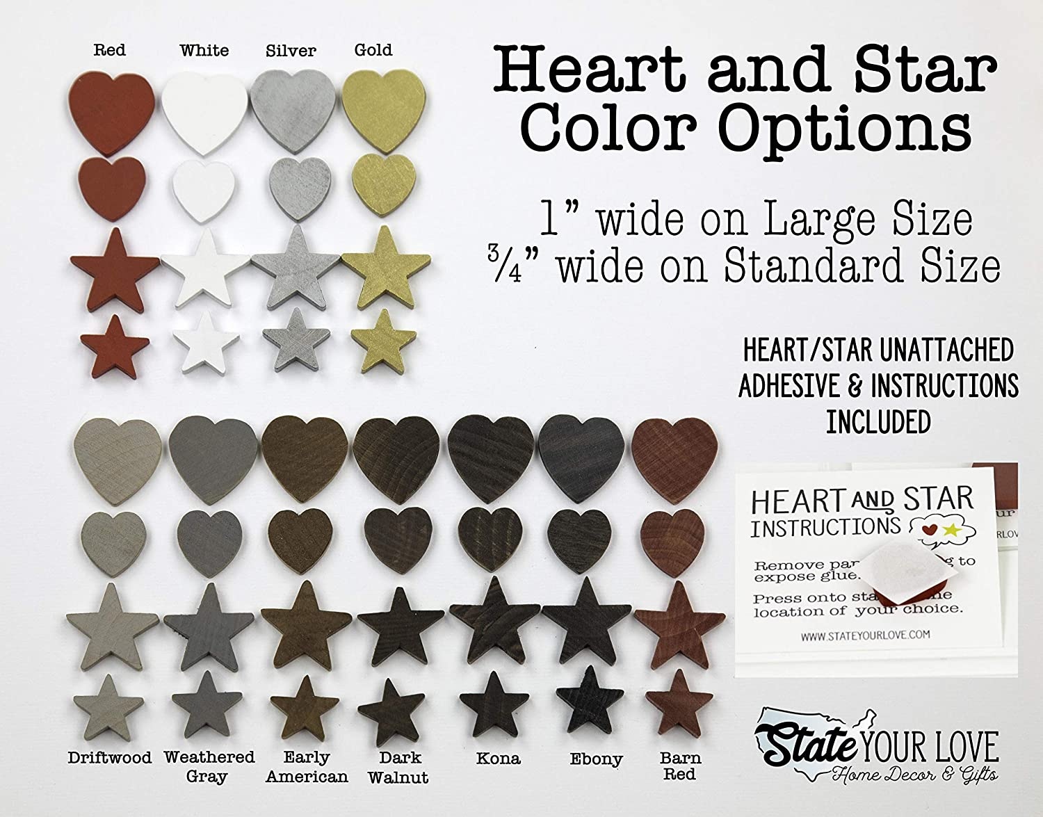 7 Stain Colors New Hampshire State Shape Wood Cutout Sign Custom Handcrafted Wall Art 2 Sizes Choice of Heart or Star