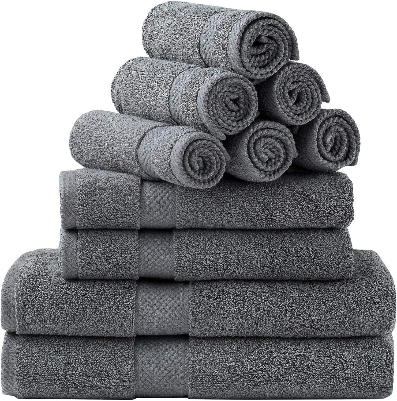 Bedsure Bath Towels Sets for Bathroom, Combed Cotton Bathroom Towels Set - 10 Pack, 2 Bath Towels 27x54, 2 Hand Towels 16x30, 6 Wash Cloths 13x13, Absorbent & Soft - Grey