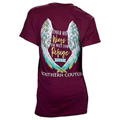 7724a9db7db Southern Couture Classic Fit Under His Wings Adult T-Shirt Maroon Small