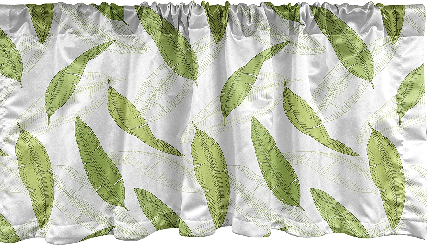 Lunarable Leaves Window Valance, Tropical Pattern with Banana Palm Leaf Monochrome Summer Aloha, Curtain Valance for Kitchen Bedroom Decor with Rod Pocket, 54