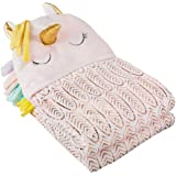 Amazon Basics Kids Unicorns & Rainbows Ultra-Soft Hooded Wearable Blanket - Pink Unicorn