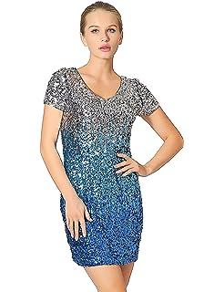 e77d9888 Metme Women's Shimmer Glam Sequin Embellished Sparkle Dresses Short Sleeve  Glitter Midi Party Cocktail Dress