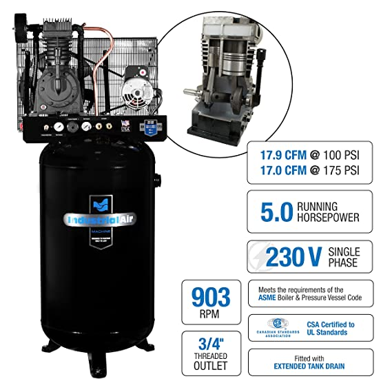 This 80 gallon air compressor is a well-built machine that releases an operating pressure of 175psi at 15.8SCFM which is more than enough to handle your large air tools.