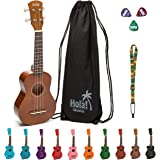 Hola! Music HM-21BR Soprano Ukulele Bundle with Canvas Tote Bag, Strap and Picks, Color Series - Natural