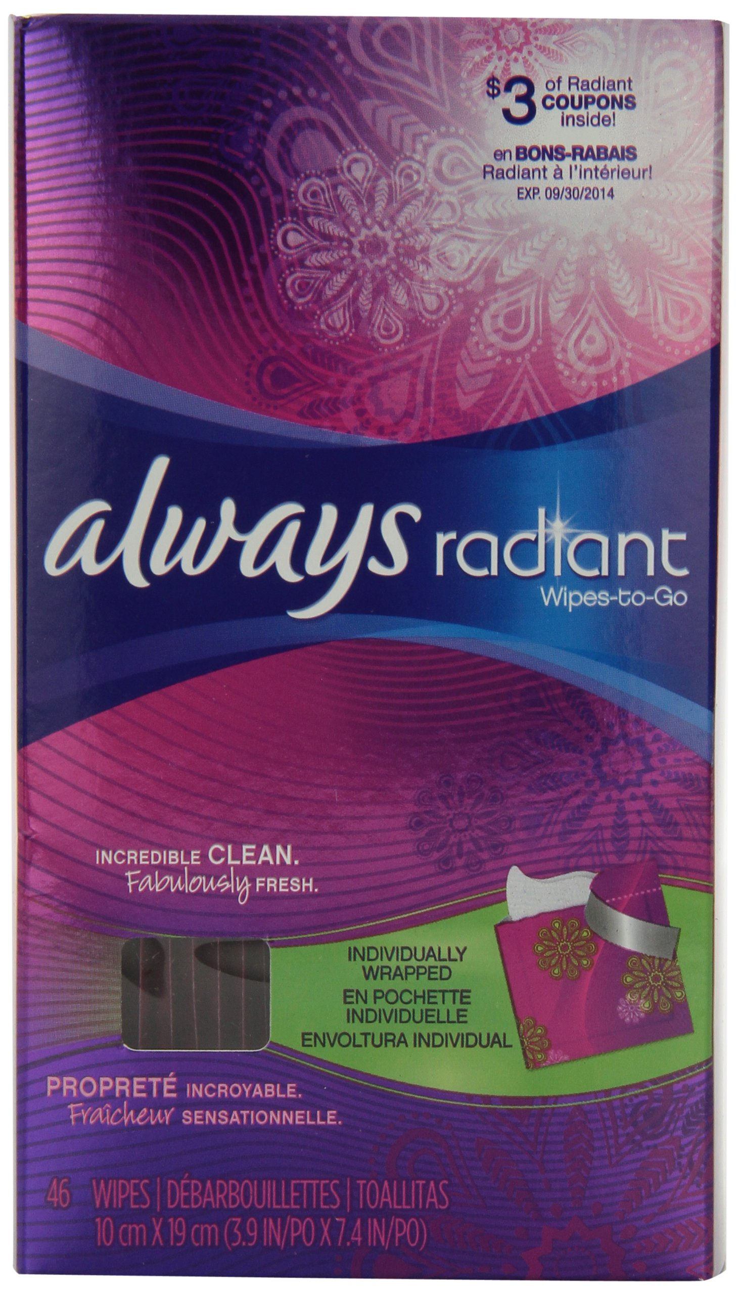 Always Radiant Feminine Wipes-To-Go, 46 Count